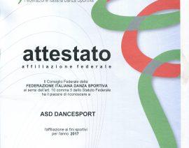 Certificato di Affiliazione – ASD Dancesport Affiliata FIDS –